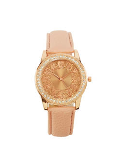 Glitter Face Rhinestone Watch with Faux Leather Strap - 1140071431315