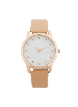 Faux Leather Rhinestone Watch - 1140071431317
