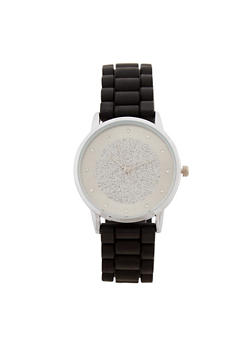 Glitter Face Woven Rubber Strap Watch - 1140071431318