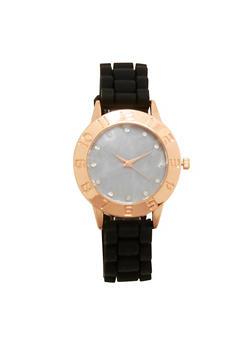 Silicone Strap Watch with Rhinestone Detail - 1140071431319