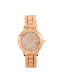 Silicone Strap Watch with Rhinestone Detail - 1140071431319