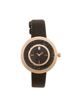 Rhinestone Face Watch with Faux Leather Strap - 1140071431320