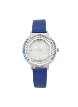 Two Tone Rhinestone Bezel Marbled Face Watch - 1140071431322
