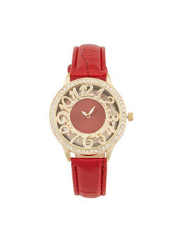 Clear Face Rhinestone Bezel Watch - 1140071431323