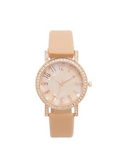 Faux Leather Rhinestone Bezel Watch - 1140071431325