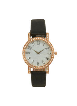 Faux Leather Rhinestone Bezel Watch - 1140071431325