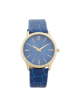 Faux Leather Embossed Strap Watch - 1140071431326