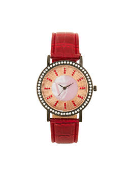 Textured Faux Leather Strap Watch with Rhinestone Face - 1140071431328