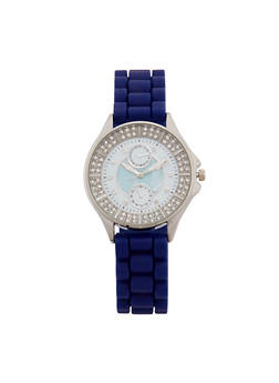 Textured Rubber Strap Watch with Rhinestone Detail - 1140071431329