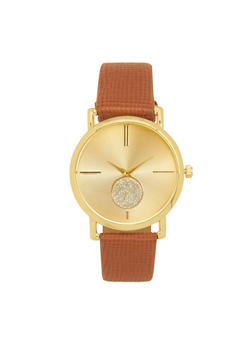 Textured Faux Leather Strap Watch - 1140071431330