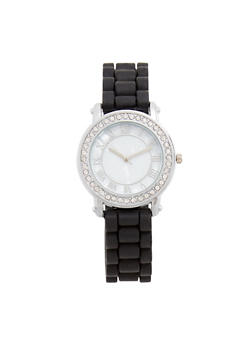 Marble Face Rubber Strap Watch with Rhinestone Detail - 1140071431331