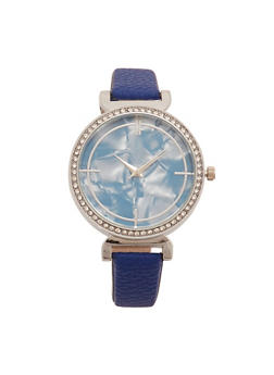 Marble Face Faux Leather Strap Watch with Rhinestone Bezel - 1140071431332