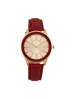 Faux Leather Strap Watch with Rhinestone Detail - 1140071431333