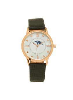 Moon and Star Face Watch with Textured Faux Leather Strap - 1140071431334