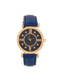 Rhinestone Detail Watch with Faux Leather Strap - 1140071431335