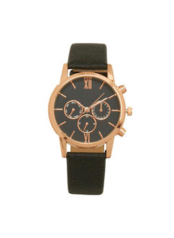 Faux Leather Chronograph Watch - 1140071431337