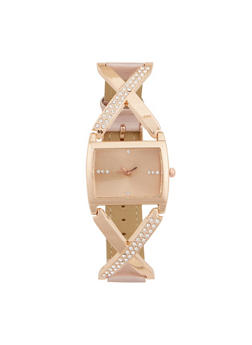 Rhinestone Metallic X Strap Watch - 1140071431340