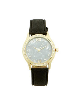 Marbled Face Rhinestone Bezel Watch - BLACK - 1140071431341