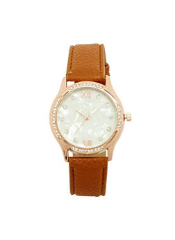 Marbled Face Rhinestone Bezel Watch - TAN - 1140071431341