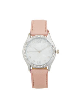 Marbled Face Rhinestone Bezel Watch - BLUSH - 1140071431341