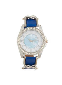 Rhinestone Bezel Metallic Detail Watch - NAVY - 1140071431342