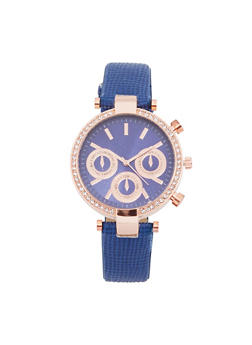 Rhinestone Bezel Faux Leather Strap Watch - NAVY - 1140071431346