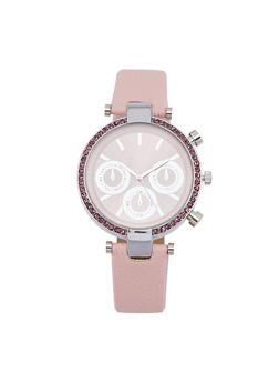 Rhinestone Bezel Faux Leather Strap Watch - BLUSH - 1140071431346