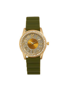 Glitter Face Rubber Strap Watch - OLIVE - 1140071431351