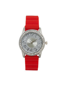 Glitter Face Rubber Strap Watch - RED - 1140071431351