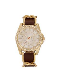 Rhinestone Bezel Watch with Metal Twist Band Detail - 1140071431485