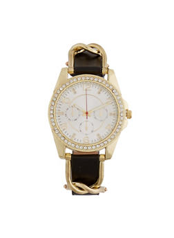 Faux Leather Watch with Chain Trim and Studded Bezel - 1140071431585