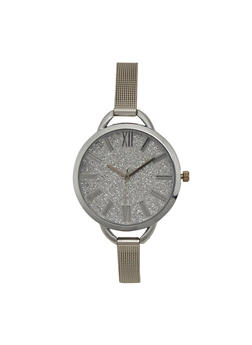 Skinny Mesh Watch with Oversized Glitter Face - 1140071431588