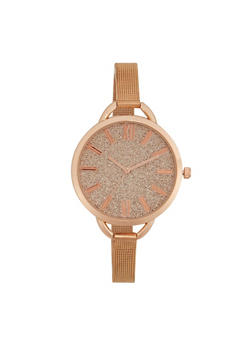 Skinny Mesh Watch with Oversized Glitter Face - ROSE - 1140071431588