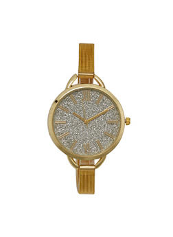 Skinny Mesh Watch with Oversized Glitter Face - GOLD - 1140071431588