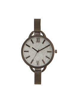 Skinny Mesh Watch with Oversized Glitter Face - JET - 1140071431588