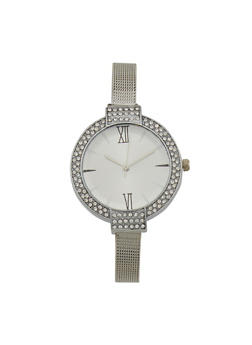 Faux Diamond Bezel Watch with Mesh Chain Strap - SILVER - 1140071431810