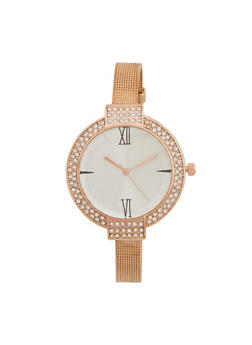 Faux Diamond Bezel Watch with Mesh Chain Strap - ROSE - 1140071431810