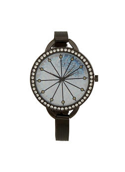 Rhinestone Bezel Watch with Thin Mesh Strap and Sparkling Face - BLACK - 1140071431820
