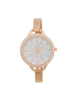 Rhinestone Bezel Watch with Thin Mesh Strap and Sparkling Face - ROSE - 1140071431820