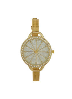 Rhinestone Bezel Watch with Thin Mesh Strap and Sparkling Face - 1140071431820