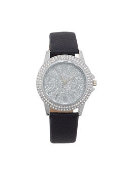 Glitter Face Rhinestone Bezel Watch - 1140071431823