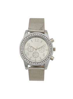 Metallic Face Watch with Rhinestones and Mesh Strap - SILVER - 1140071431830