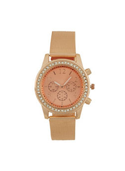 Metallic Face Watch with Rhinestones and Mesh Strap - 1140071431830
