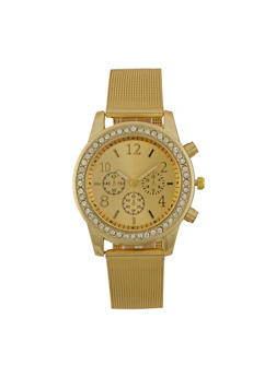 Metallic Face Watch with Rhinestones and Mesh Strap - GOLD - 1140071431830
