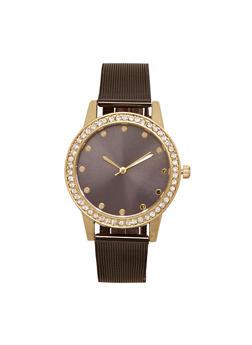 Mesh Watch with Rhinestone Bezel - BLACK - 1140071431840