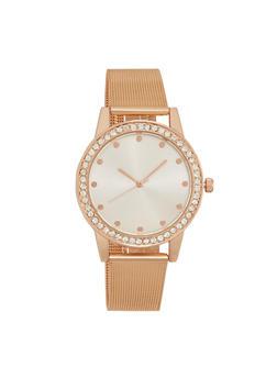 Mesh Watch with Rhinestone Bezel - ROSE - 1140071431840