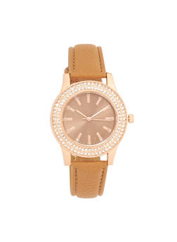 Rhinestone Bezel Faux Leather Strap Watch - 1140071431886