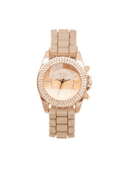 Rubber Strap Watch with Rhinestone Bezel - TAUPE - 1140071432162