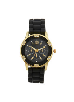 Metallic Rhinestone Rubber Strap Watch - 1140071432250
