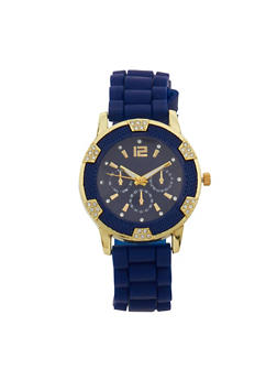 Metallic Rhinestone Rubber Strap Watch - NAVY - 1140071432250